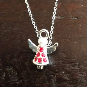 NWOT Silver with Red Crystal Angel Necklace